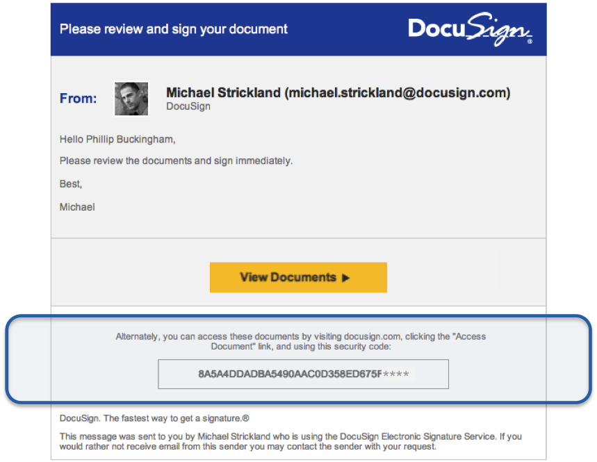 A pixel-perfect copy of a DocuSign email notification with a fake weblink inside