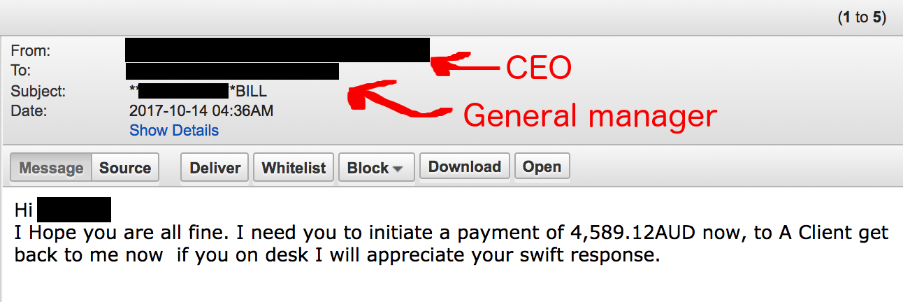 This targeted phishing email was intercepted by our anti-phishing service