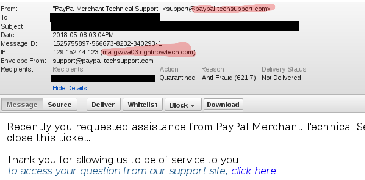 Despite the sender details, this email was sent by PayPal